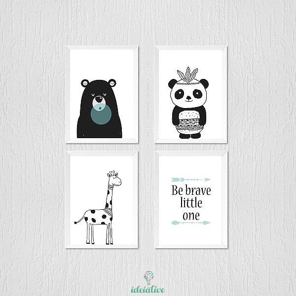 Quadro Infantil Ursinho Girafa Panda