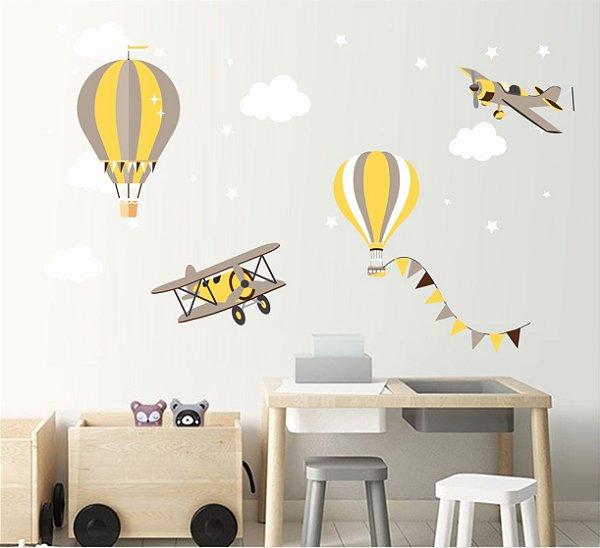 Adesivo Parede Infantil Balão e Aviãozinho