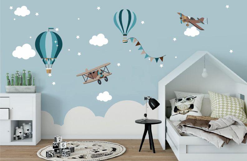 Adesivo Infantil Balões e Avião