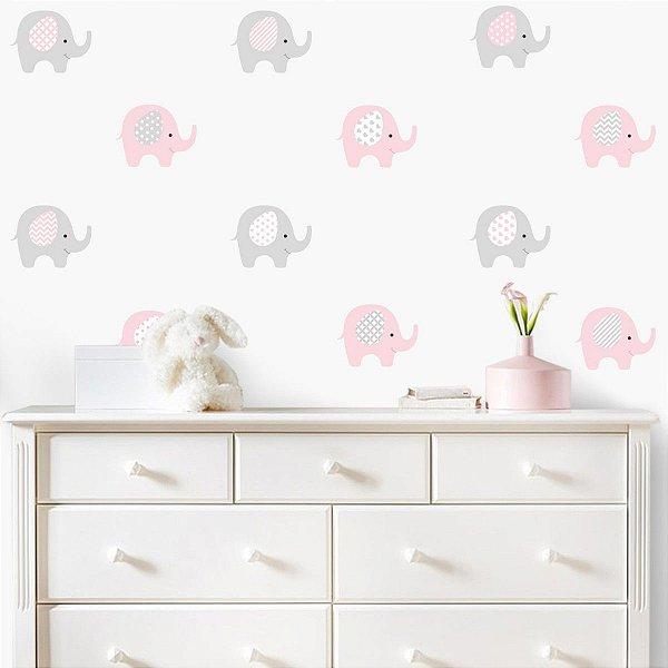Adesivo Elefantinhos Rosa e Cinza