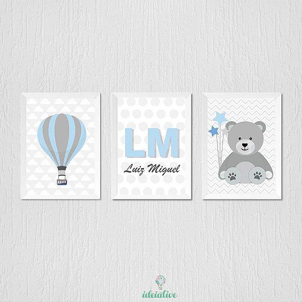 Quadro Infantil com Balão, Ursinho e Nome Personalizado