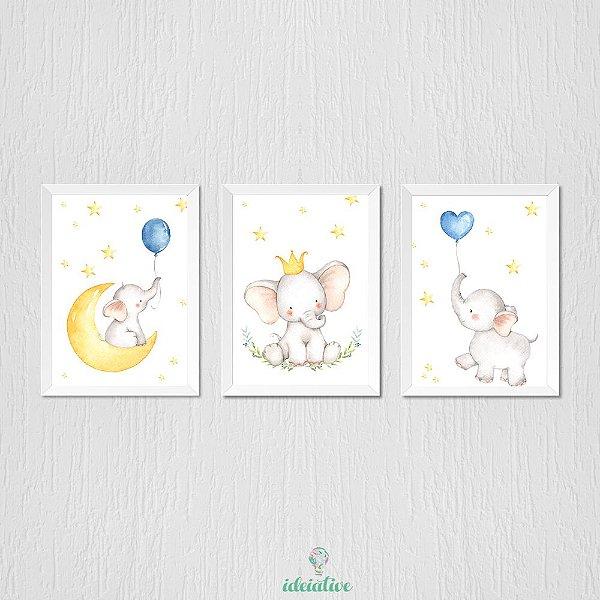 Quadro Infantil Elefantinho, Balão Aquarela