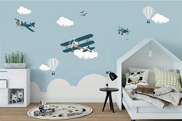 Adesivo infantil aviões, balões e nuvens