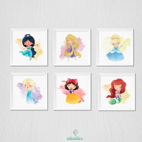 Quadro Infantil Princesas Disney - sexteto