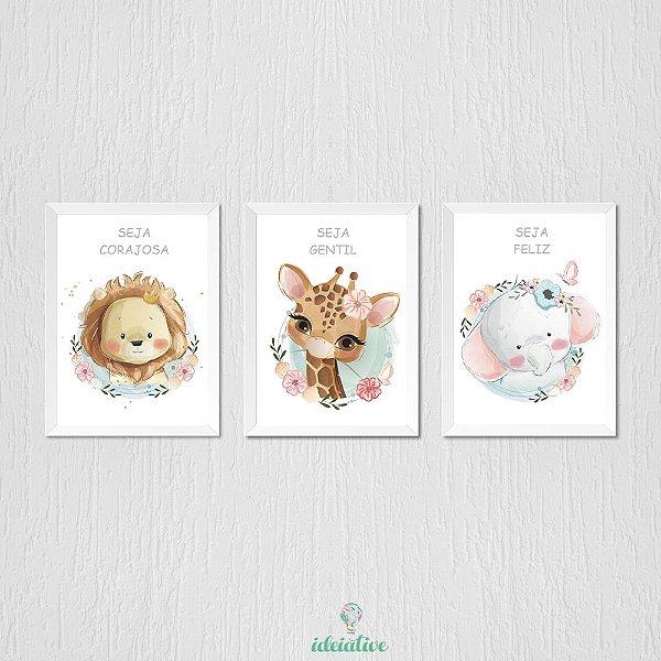 Quadro Infantil Quarto de Menina Animais Fofos