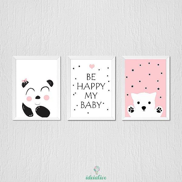 Quadro Ursinha, Panda e Be Happy My Baby