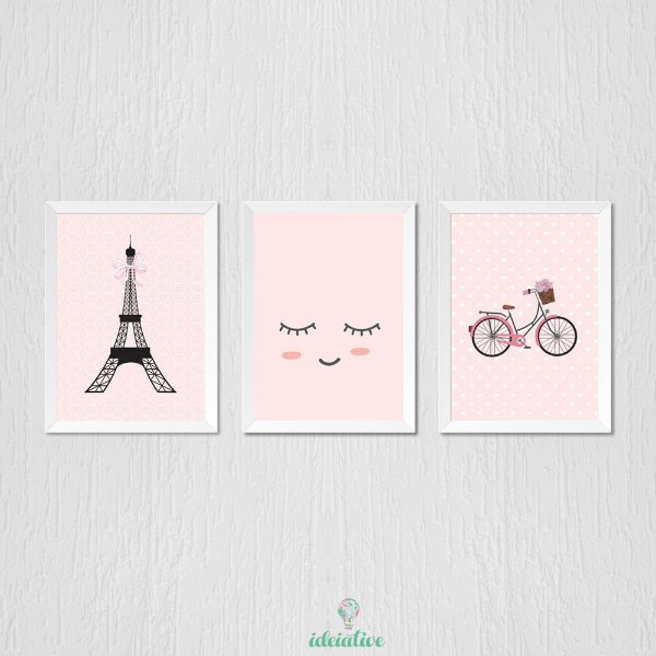 Quadro Infantil Menina Paris
