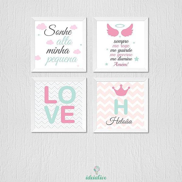 Quadro Infantil Menina Sonhe alto, Love, Oração e Nome