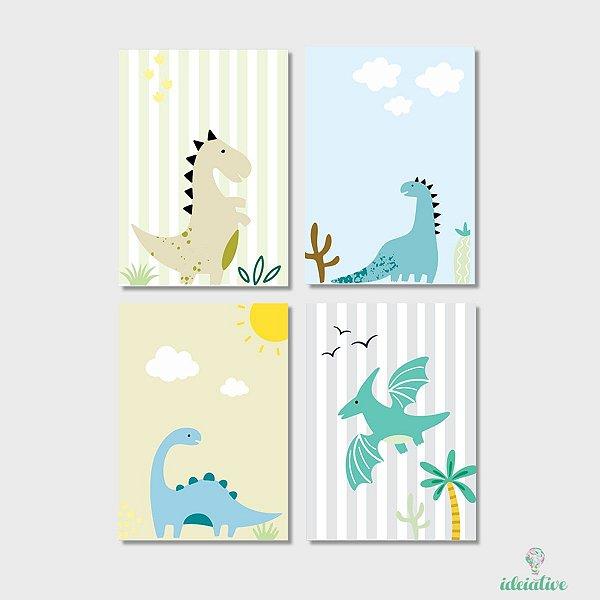 Quarteto de Quadros Dinossauros