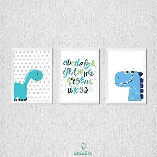 Quadrinho infantil dinossauro azul