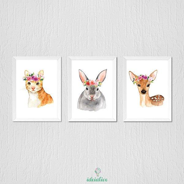 Quadro infantil animais aquarela