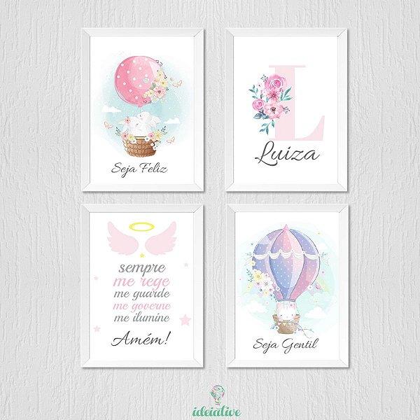 Quadro de menina animais no balão, oração e nome
