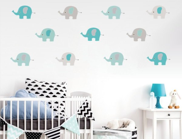 Adesivo Elefante Azul e Cinza