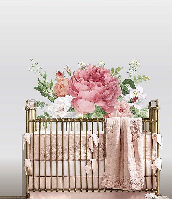 Adesivo de Parede Flores Aquarela - Peonias e Rosas