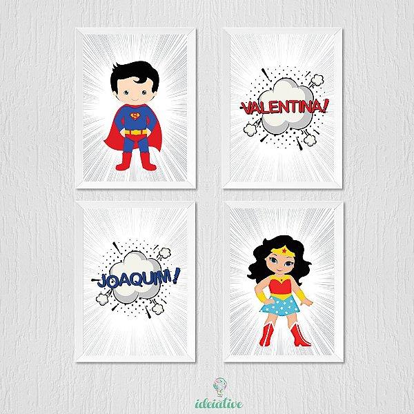 Quadro Para Irmãos Super Heróis