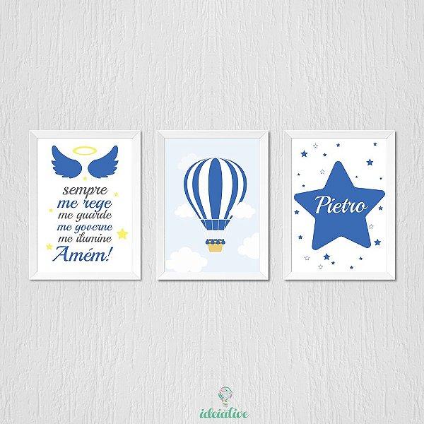Quadro Infantil Oração, Balão e Estrela