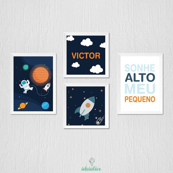 Kit de Quadro Infantil Astronauta