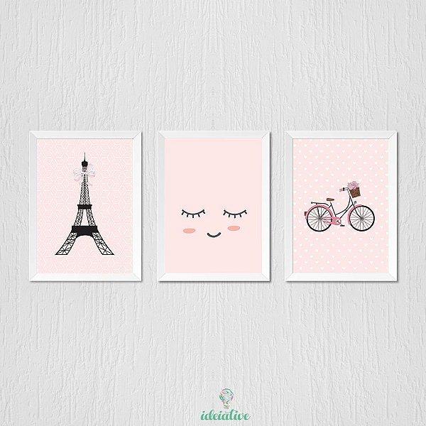 Quadro Menina Paris e Bicicleta