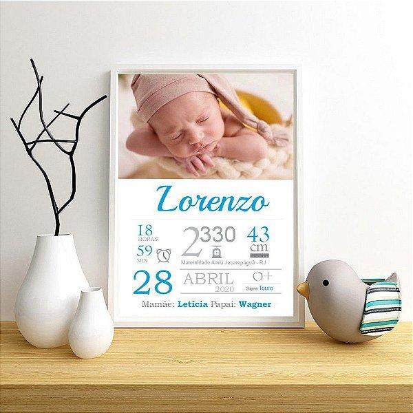 Quadro com dados do nascimento do bebê