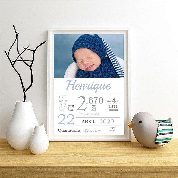 Quadro com dados do nascimento menino