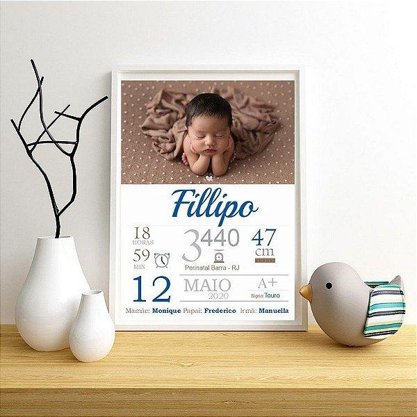 Quadro com dados do nascimento bebê menino