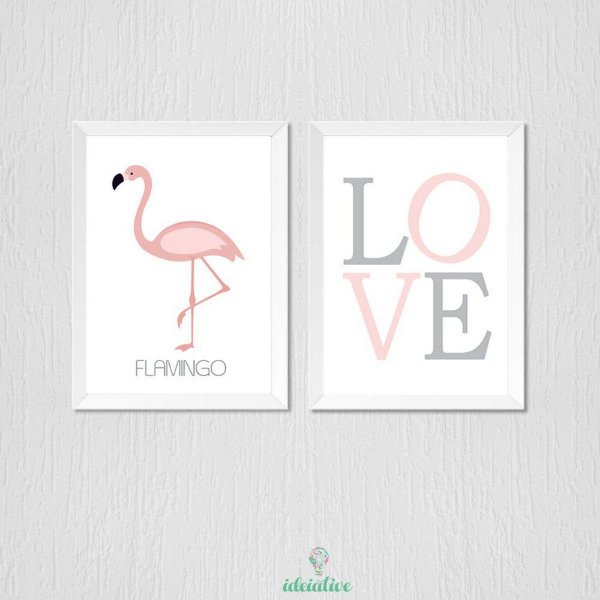 Quadro flamingo e love