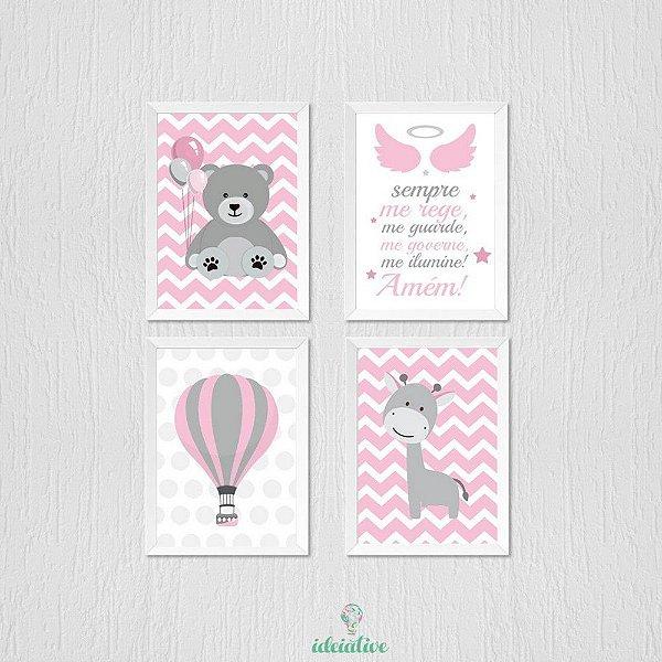 Quadro ursinho, balão, girafa, oração