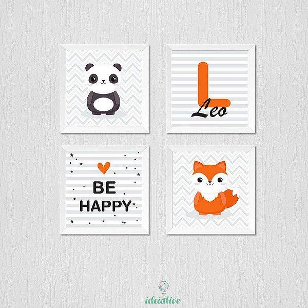 Quadro Infantil Panda, Raposa, Be Happy e Nome