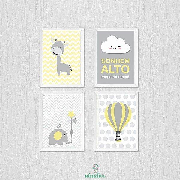 Quadro girafinha, balão, sonhe alto, elefantinho