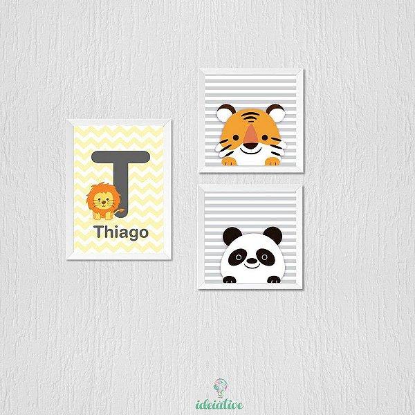 Quadro Tigre e Panda com Nome Personalizado