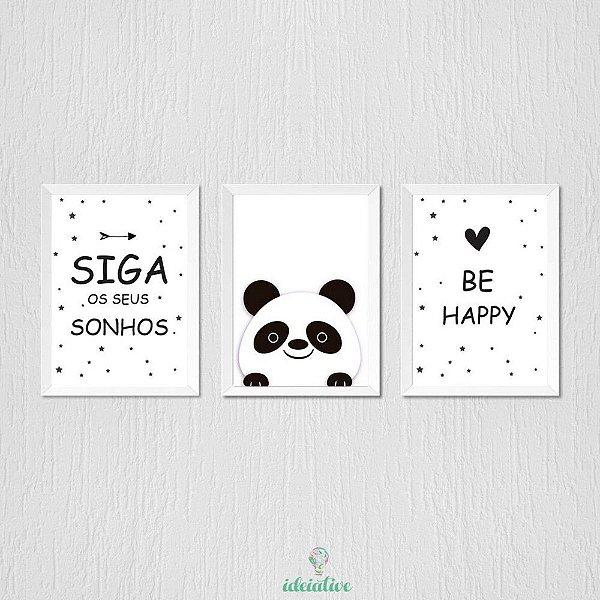 Quadro Panda Siga Seus Sonhos