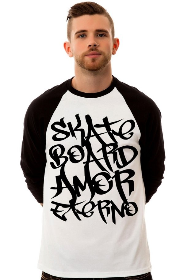 Camiseta Raglan 3/4 / Sheik Supply Co / Skateboard Amor Eterno