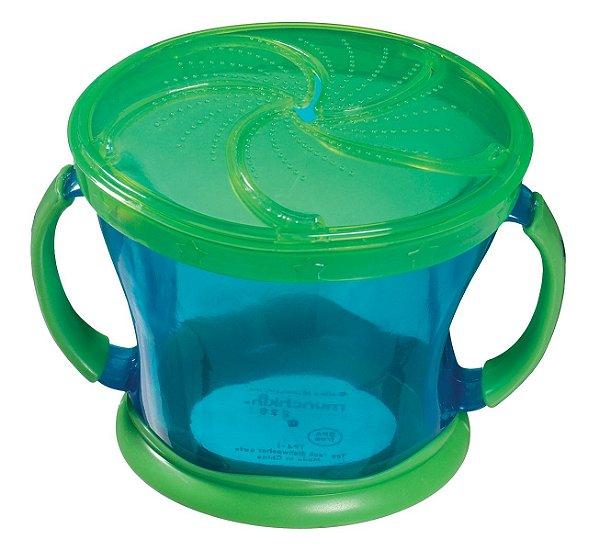Porta Biscoitinhos azul e verde, com alças, capacidade 250gr e idade a partir 12 meses, da Munchkin