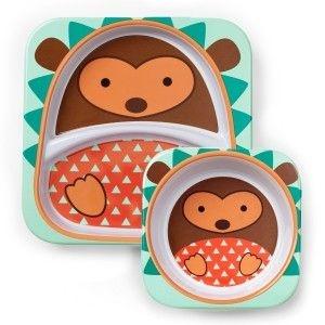 Conjunto com 2 pratos (prato raso com divisória e tigela funda), Skip Hop Zoo, tema Porco Espinho