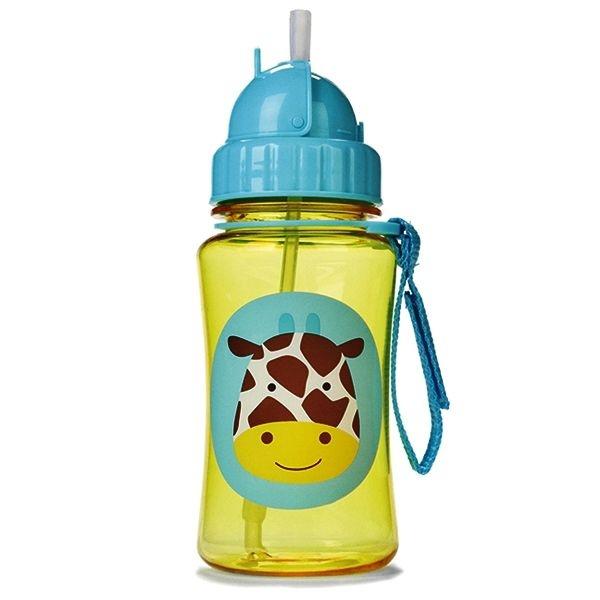 Garrafinha infantil, com canudo, Skip Hop Zoo, tema Girafa