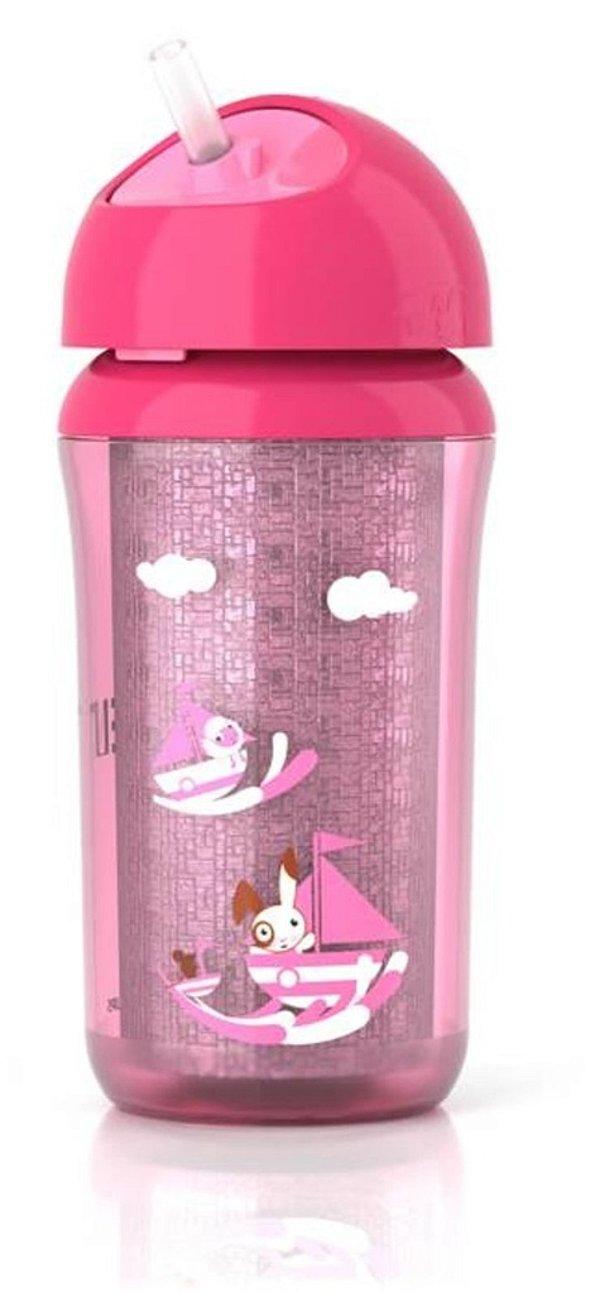Copo térmico, bico macio, canudo retrátil, antivazamento, cor rosa, 260ml, da Philips Avent