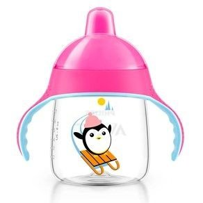Copo Pinguim 260ml, cor rosa, Philips Avent