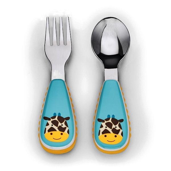 Conjunto com 2 talheres (colher e garfo), Skip Hop Zoo, tema Girafa