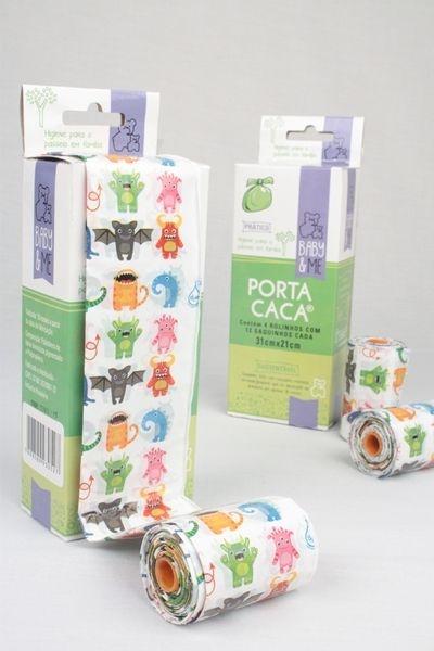 Saquinhos higiênicos Porta Caca, da Baby and Me (caixa com 48 saquinhos)