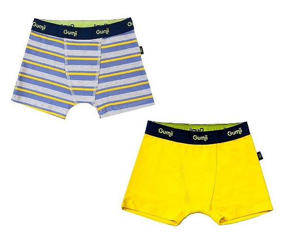 Cueca Infantil, Estilo Boxer, da Gumii, Amarela e Listrada (pack com 2 unidades), tamanho M