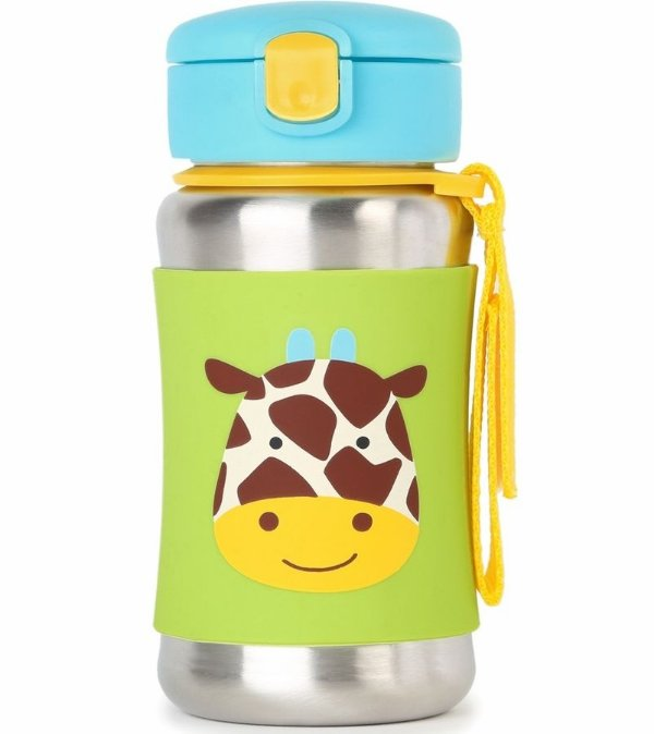 Garrafinha Infantil, em inox, com canudo, Skip Hop Zoo, tema Girafa