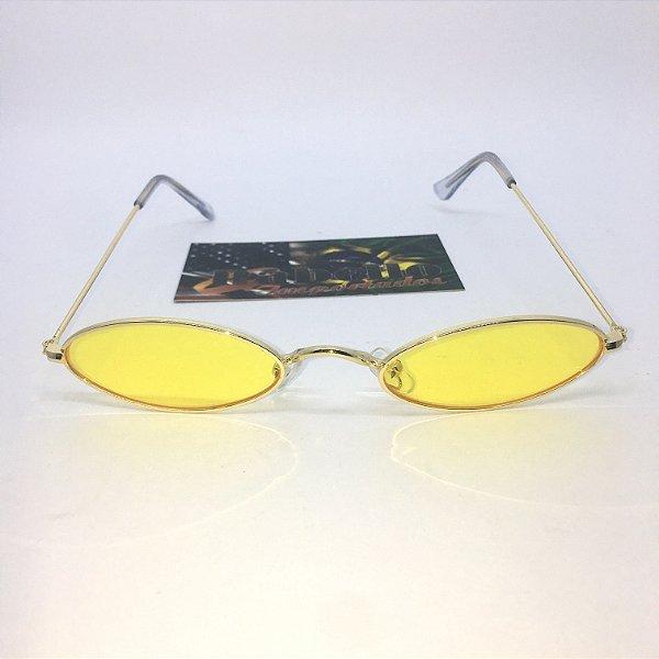 Óculos Vintage Oval - Amarelo/Dourado
