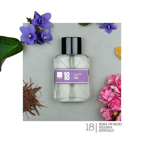 Perfume 18 -Rosa de Maio, Violeta e Sândalo Referência olfativa Paris