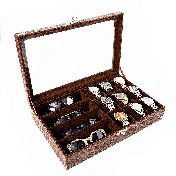 Estojo Porta 9 Relógios e 4 Óculos Couro Ecológico | Marrom Marrom