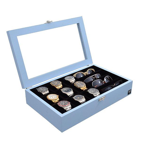 Estojo 9 Relógios 4 Óculos Color Madeira Azul Bebê com Preto