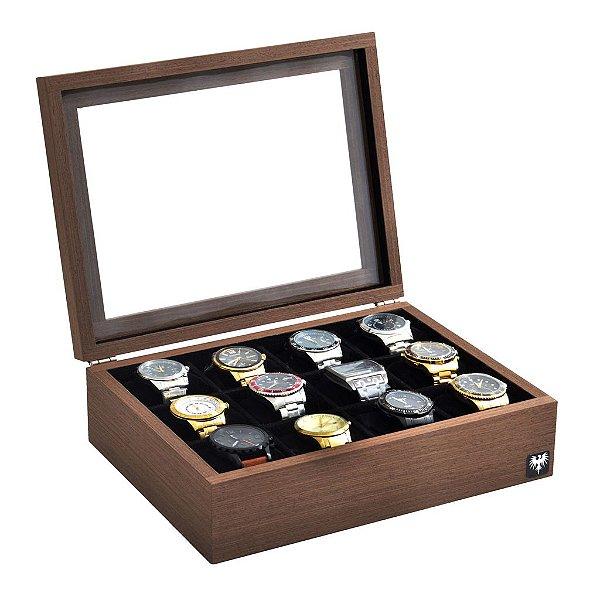 Estojo Porta Relógio 12 Nichos Minimal Madeira Tabaco Preto
