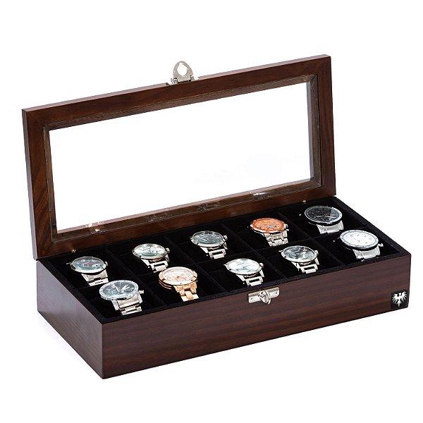 Estojo Porta Relógio 10 Nichos Madeira Maciça | Tabaco Preto