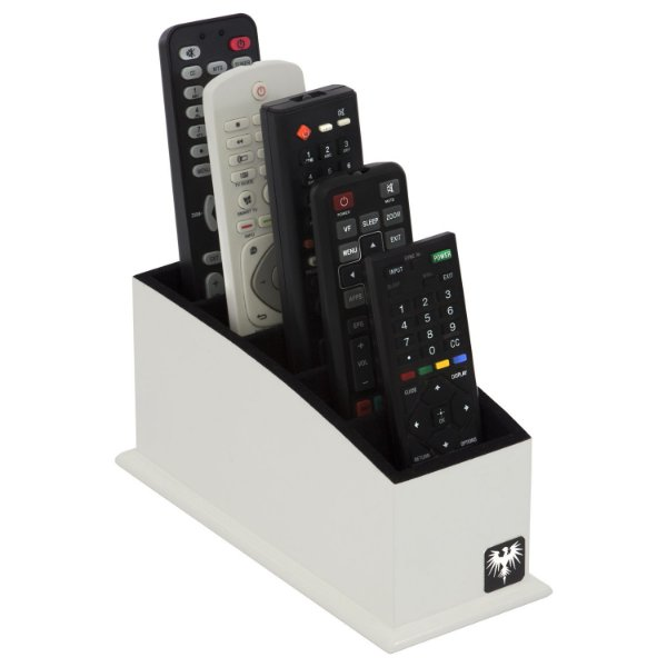 Porta Controle Remoto 5 Nichos Madeira MDF Laqueado | Branco Preto