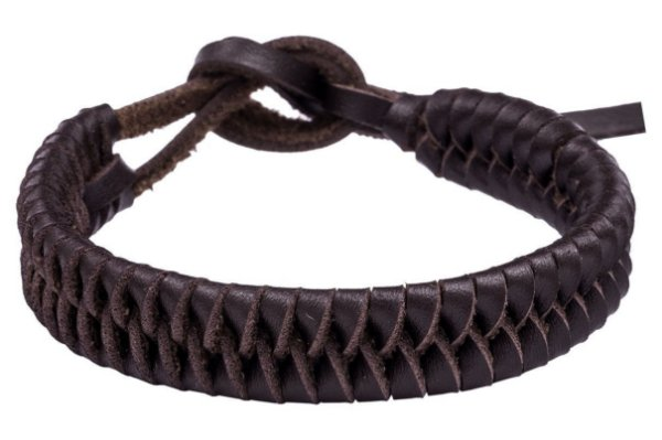 Bracelete Couro Trançado Marrom | B1018M