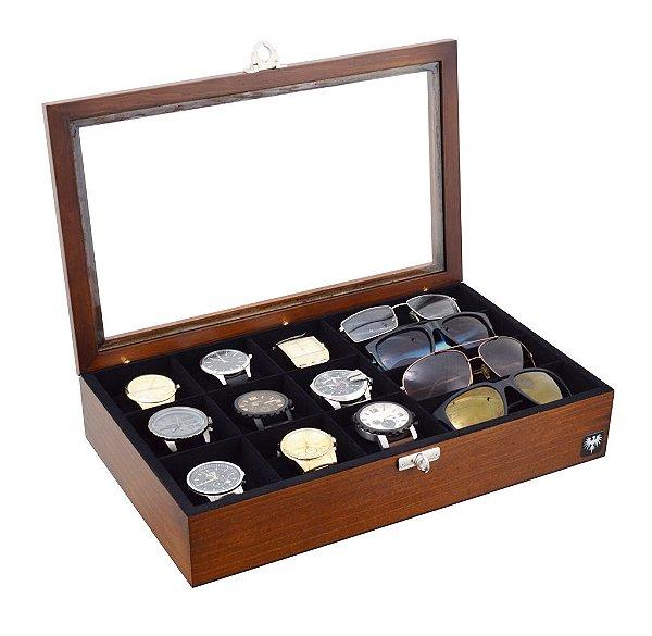 Estojo Porta 9 Relógios e 4 Óculos Madeira Maciça | Tabaco Preto